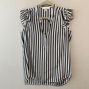 Frame Denim Silk Striped Ruffle Sleeve Top